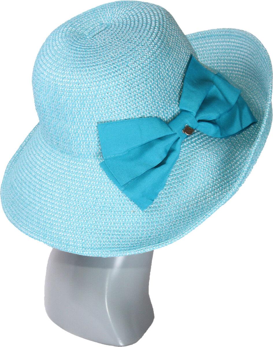 Шляпа мягкая с украшением в виде банта голубая