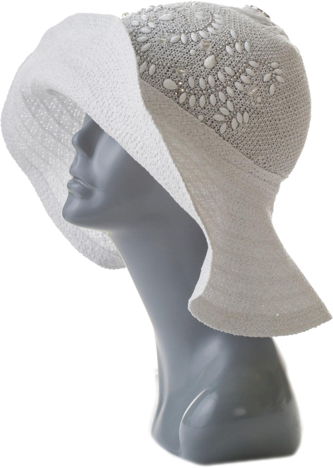 Шляпа женская белая с камнями