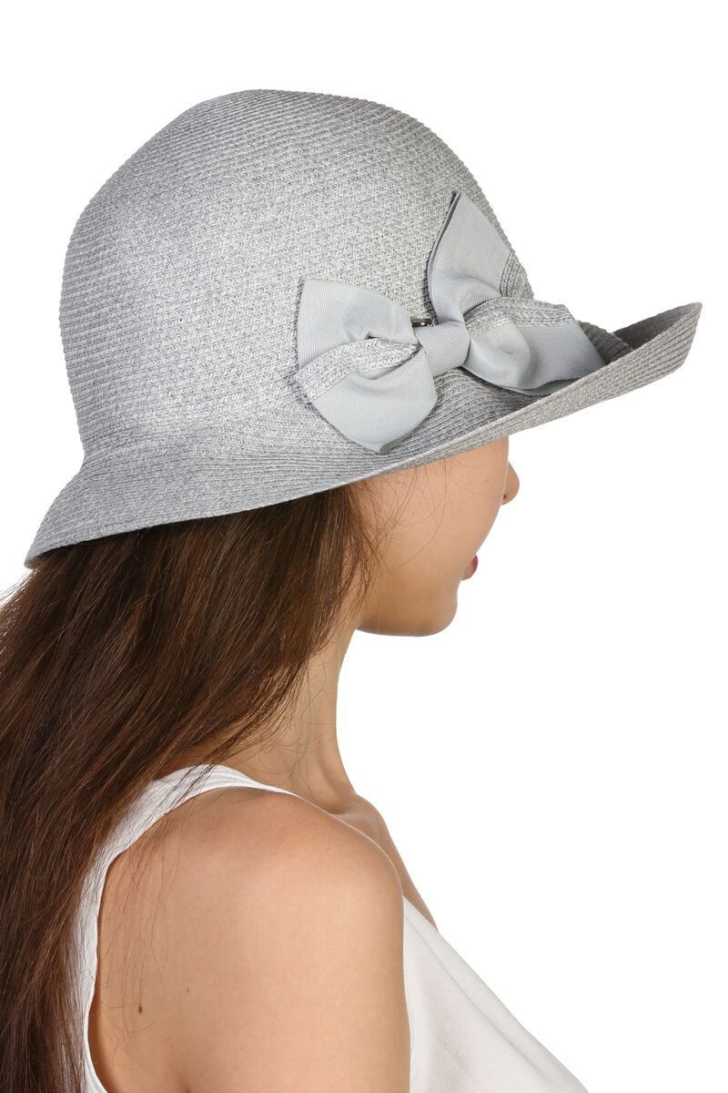 Шляпа мягкая с бантом серая