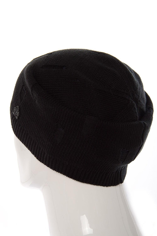 Шапка мужская демисезонная в рваном стиле черная