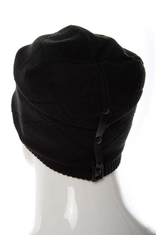 Шапка мужская трикотажная с кожаным ремешком черная
