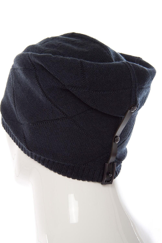 Шапка мужская трикотажная с кожаным ремешком синяя
