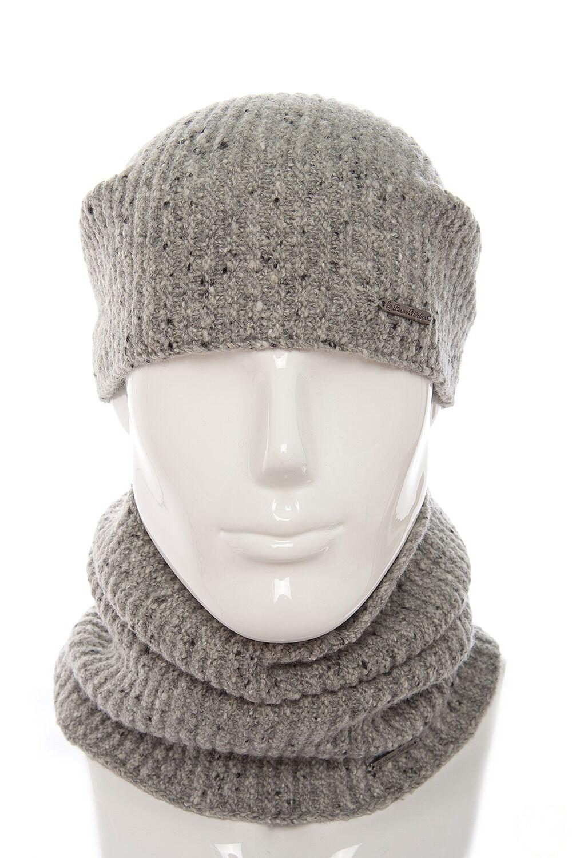Комплект трикотажный шапка+баф светло серый