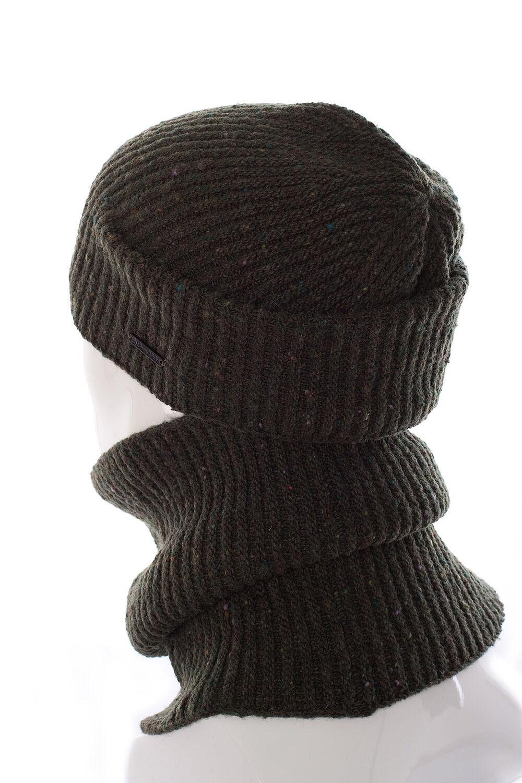 Комплект трикотажный шапка+баф зеленый