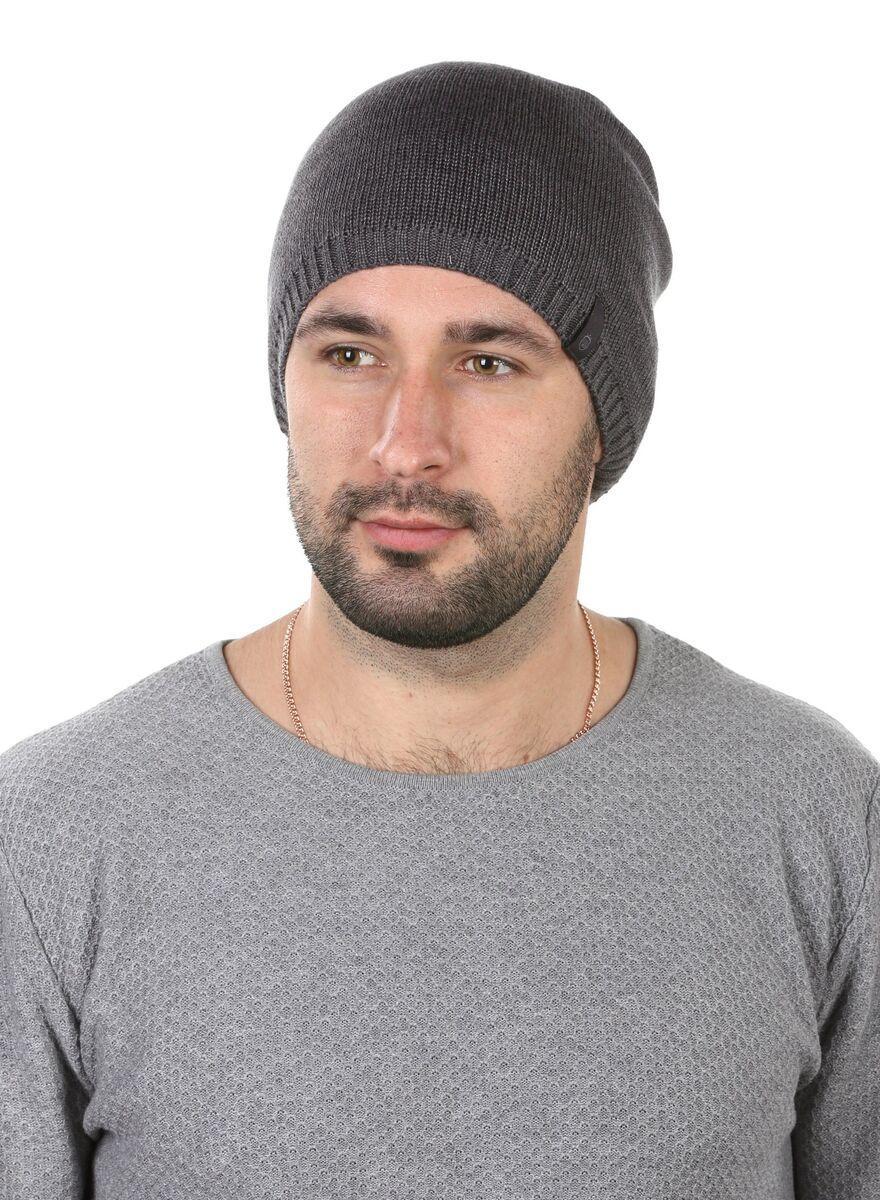 Шапка мужская трикотажная серая