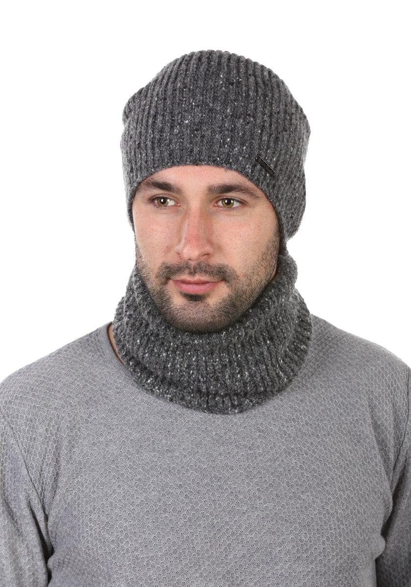 Комплект трикотажный шапка+баф темно-серый