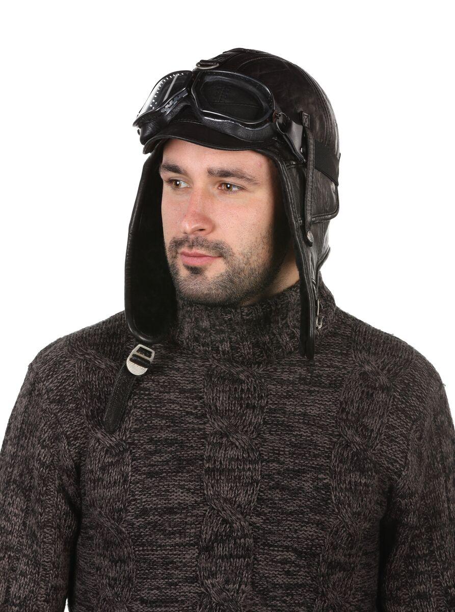 Шапка пилот меховая черная