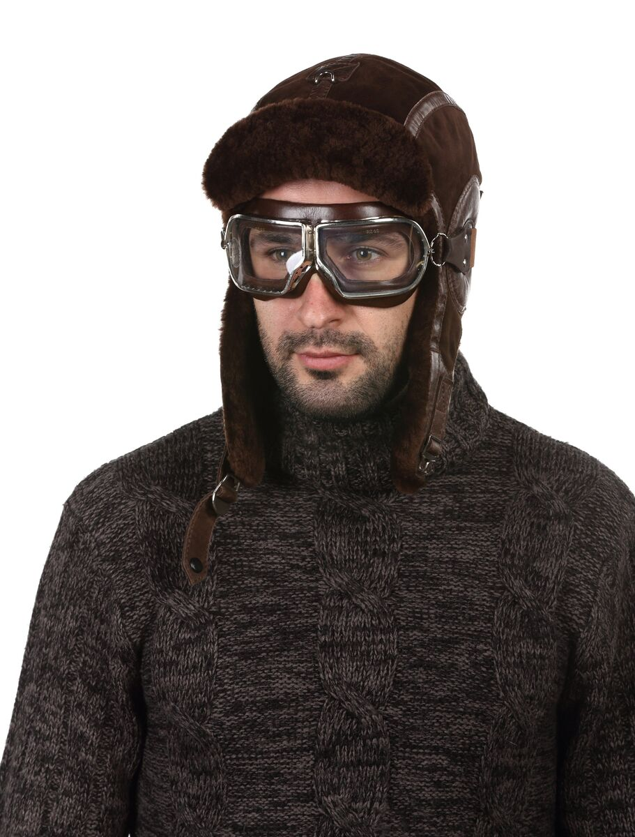 Шапка авиатор зимняя коричневая
