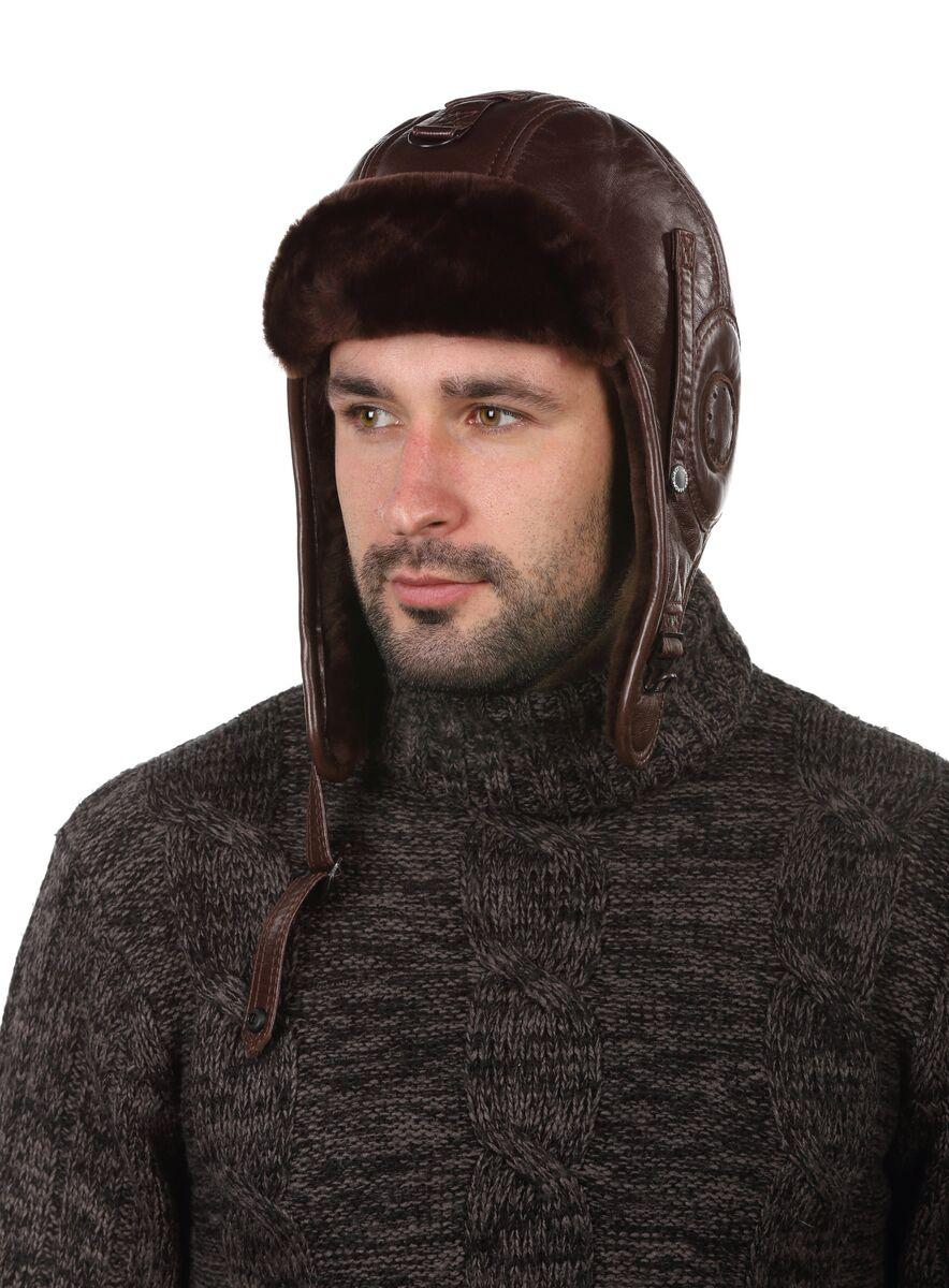 Шлем авиационный меховый коричневый