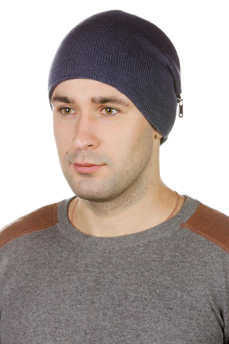 Шапка мужская трикотажная синяя с кожей