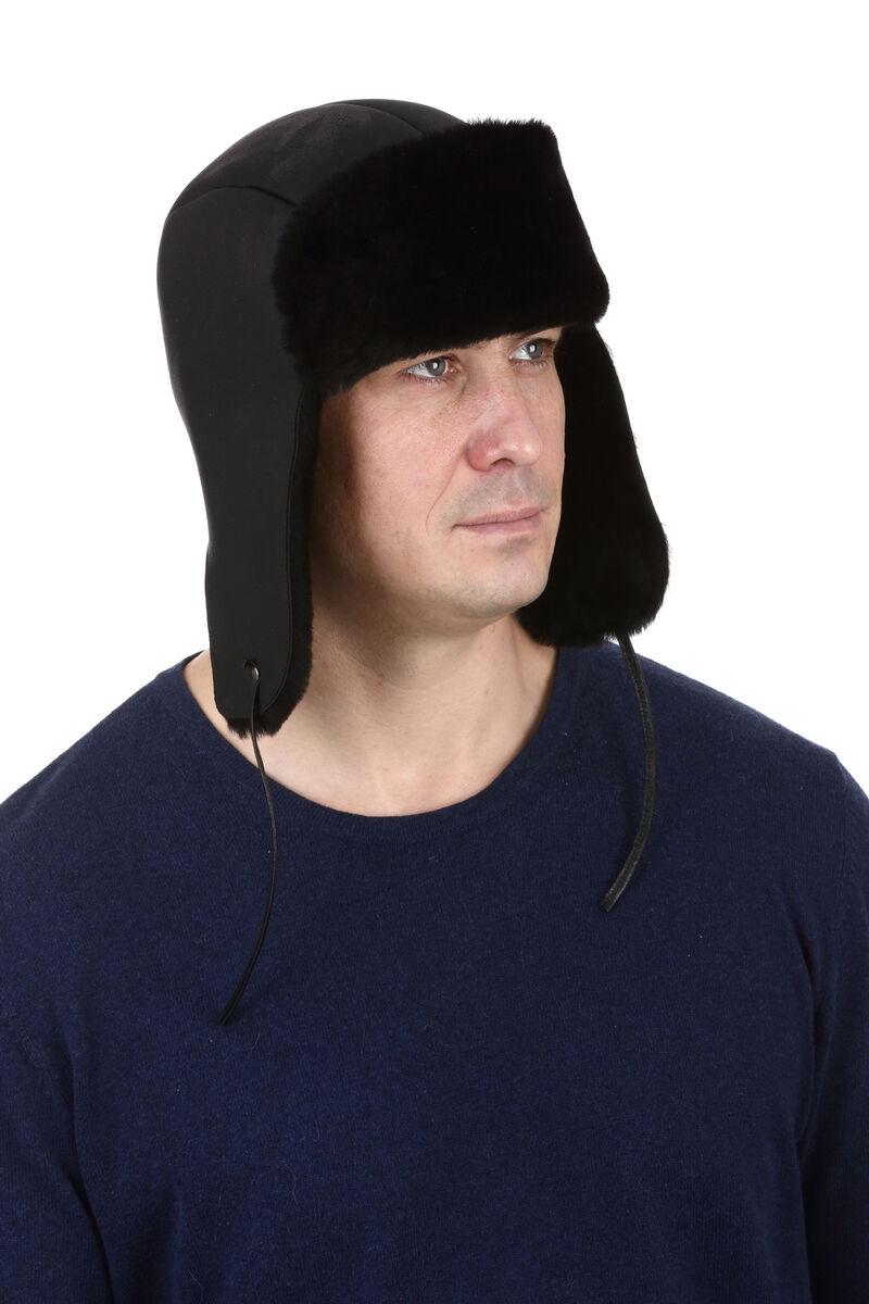 Ушанка из овчины Меринос черная