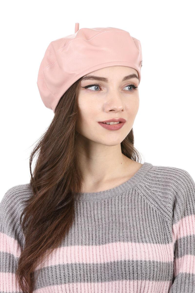 Берет из кожи нежно-розовый