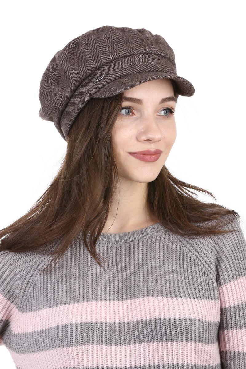Кепка женская  из ткани коричневая
