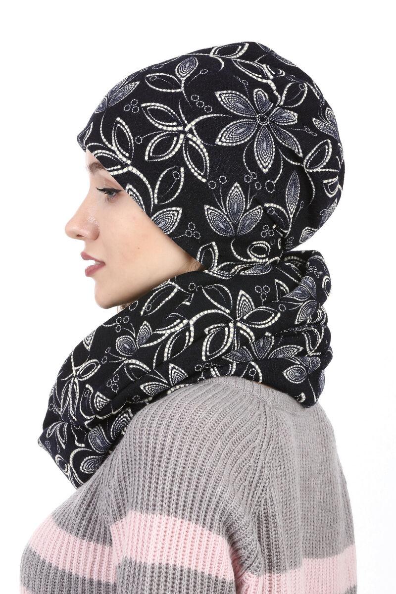 Комплект трикотажный черный с белыми цветами