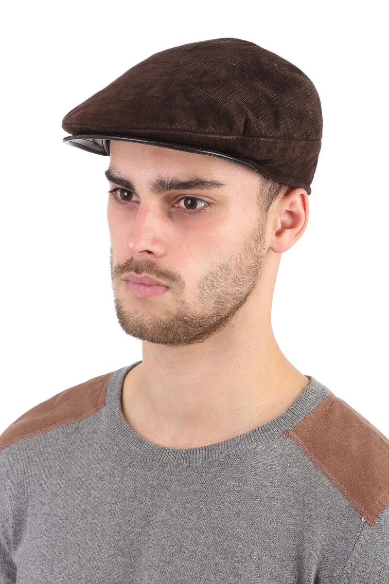 Кепка мужская из натуральной замши коричневая