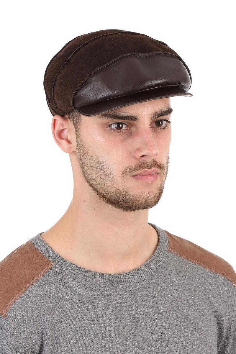 Кепка мужская из замши коричневая