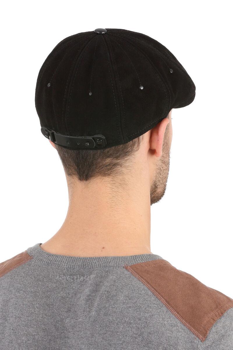 Кепка-восьмиклинка мужская из замши черная