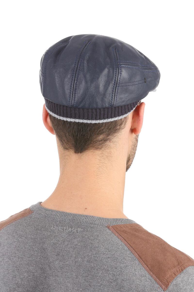 Кепка из кожи с трикотажным козырьком синяя