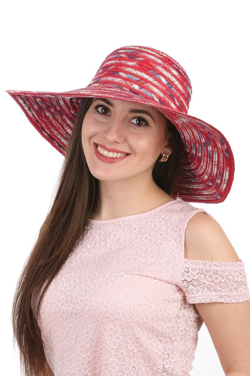 Шляпа соломенная с тканевыми вставками красная