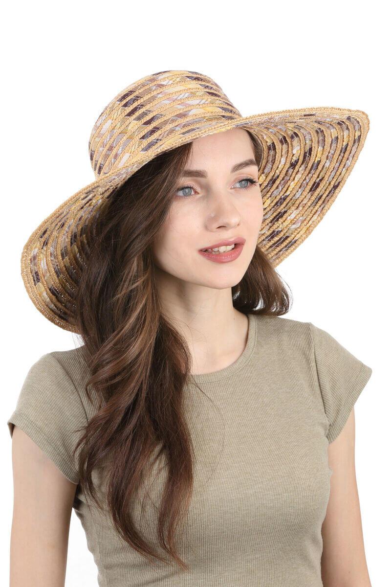 Шляпа соломенная с тканевыми вставками