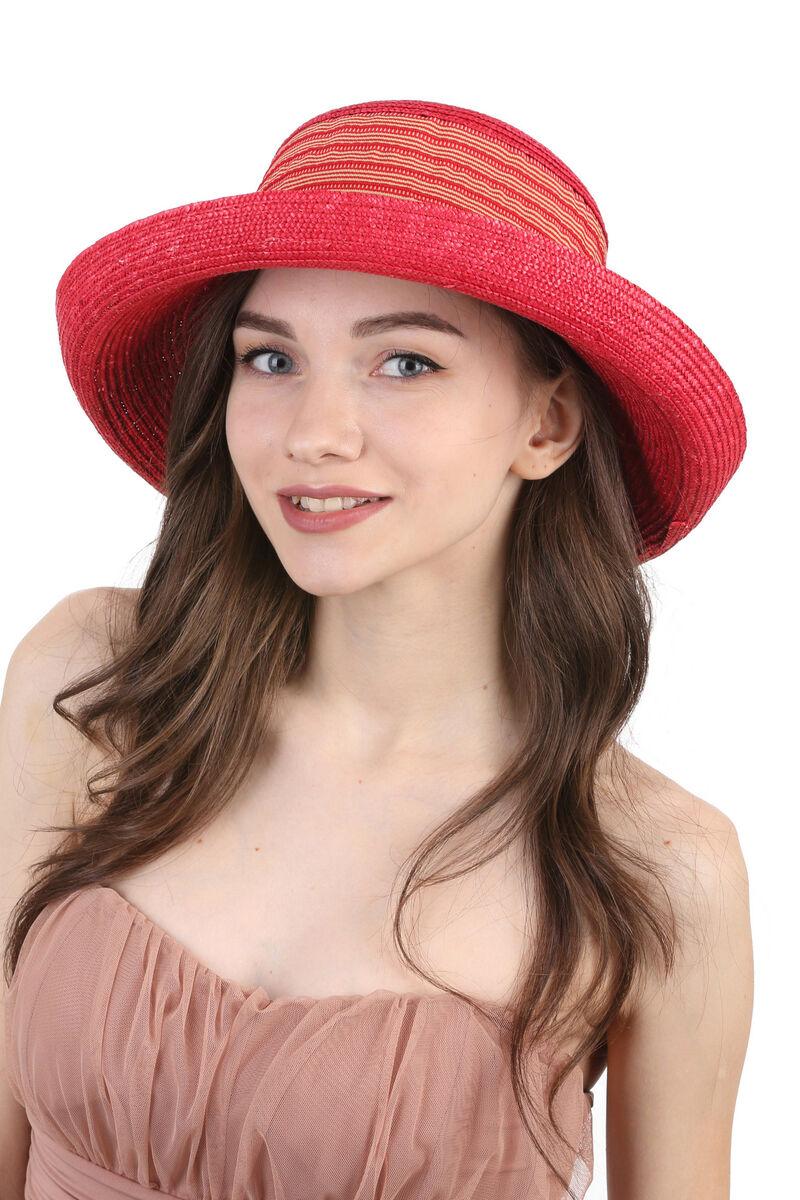 Шляпа соломенная с мягкой тульей  красная