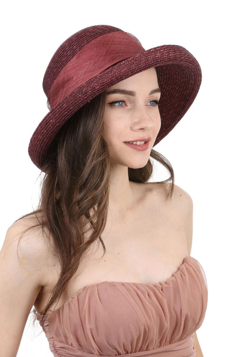 Шляпа из натуральной соломы сливовая