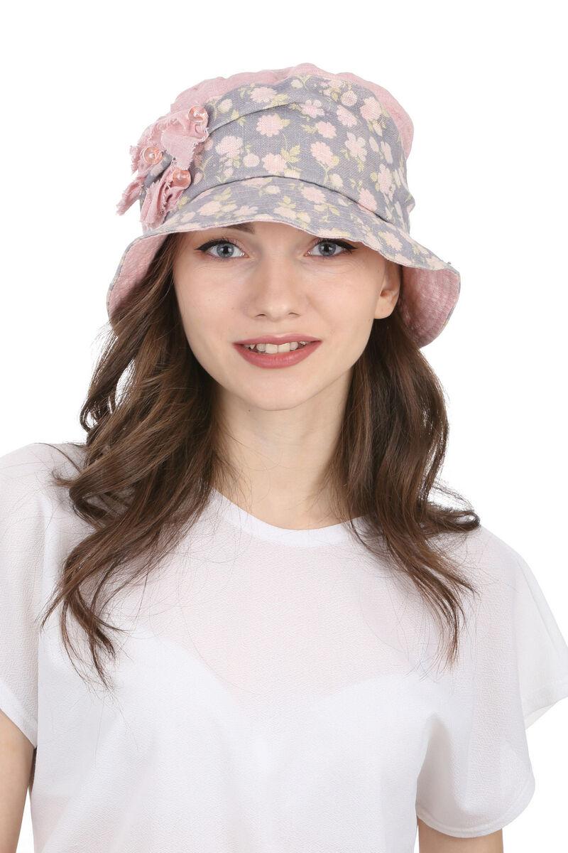 Тканевая шляпа серая с розовым
