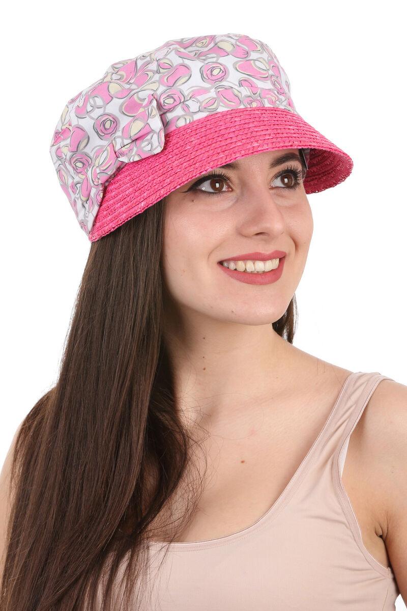 Кепка с козырьком из соломы розовая