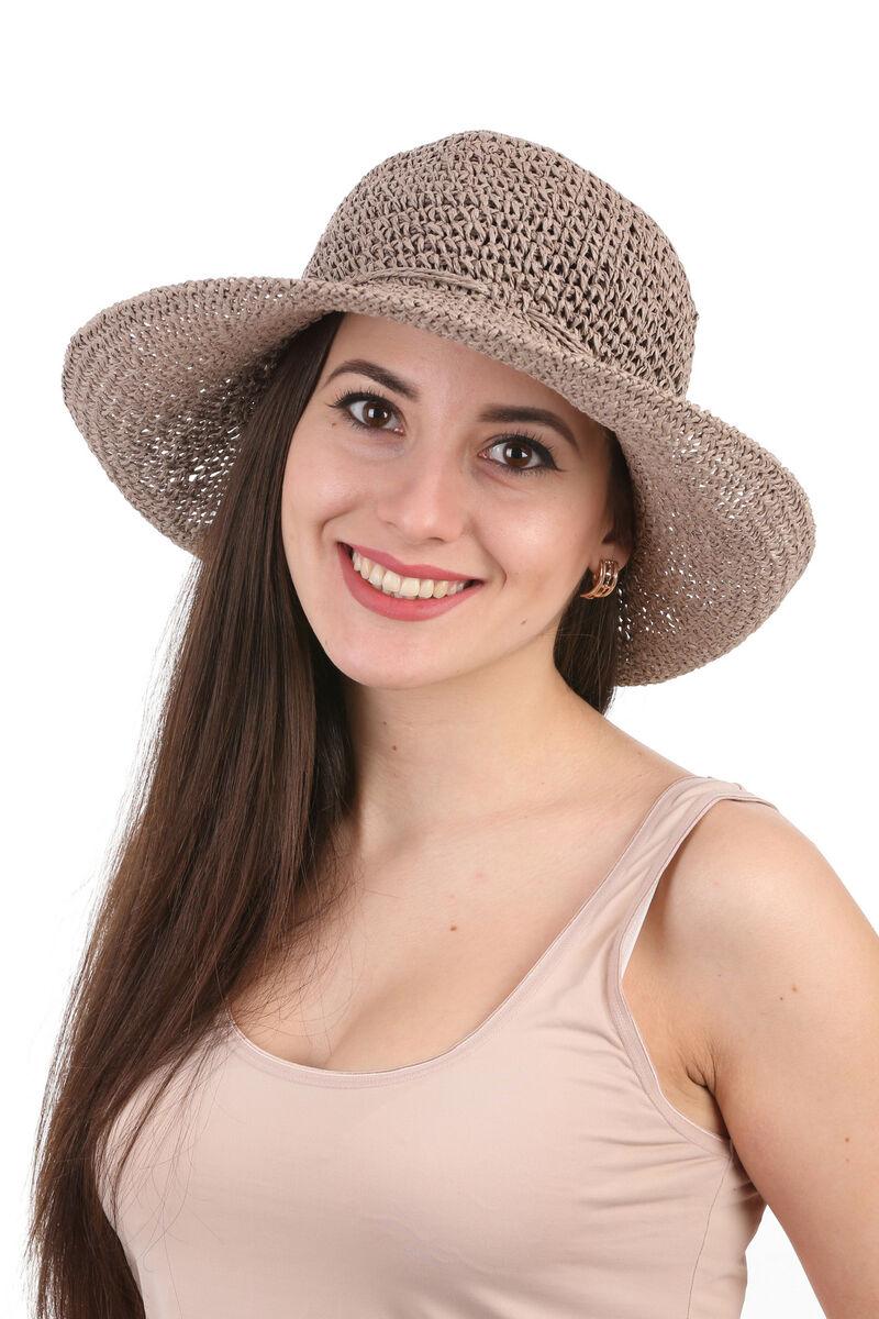 Шляпа плетеная коричневая