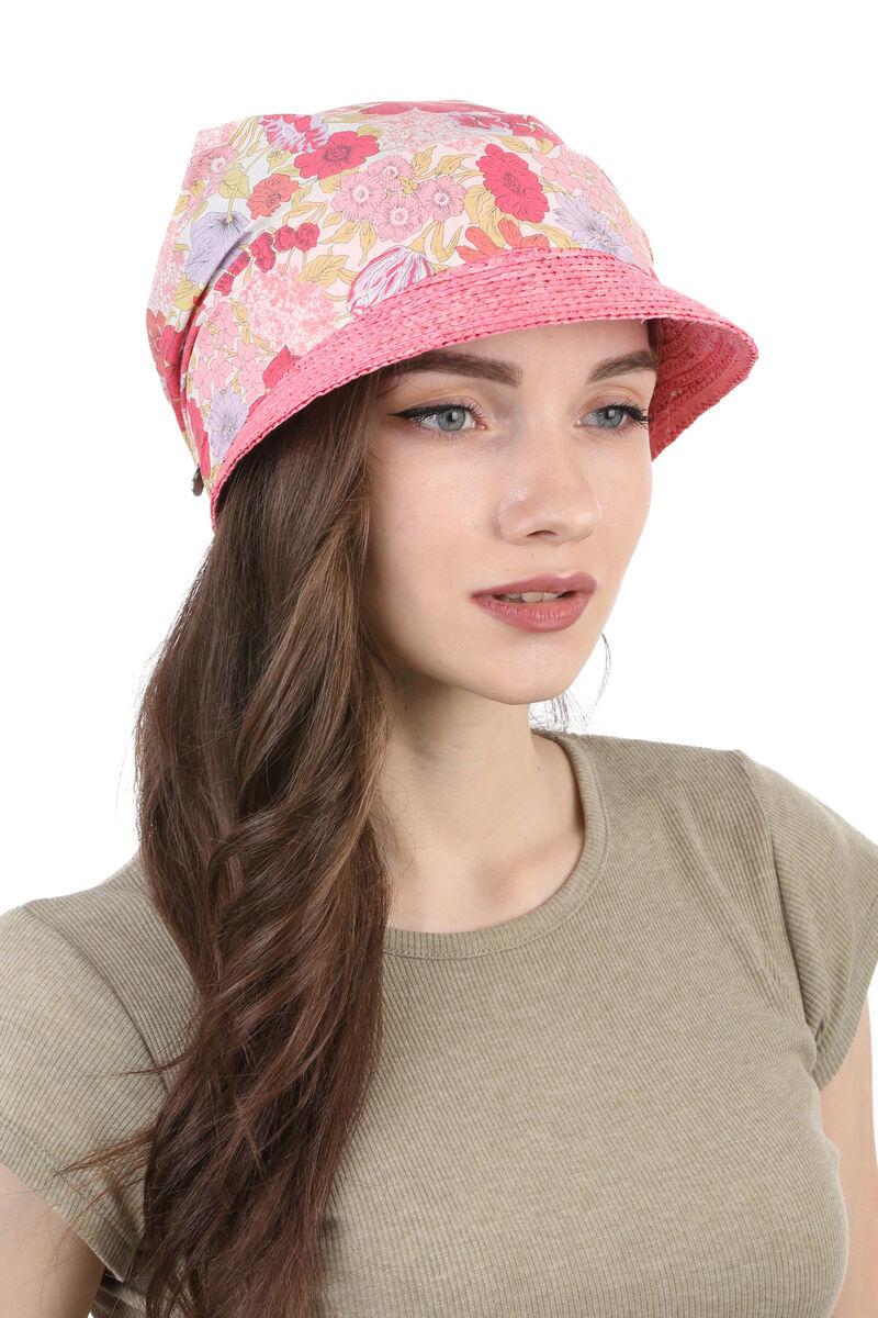 Козырек соломенный с тканевым верхом розовый