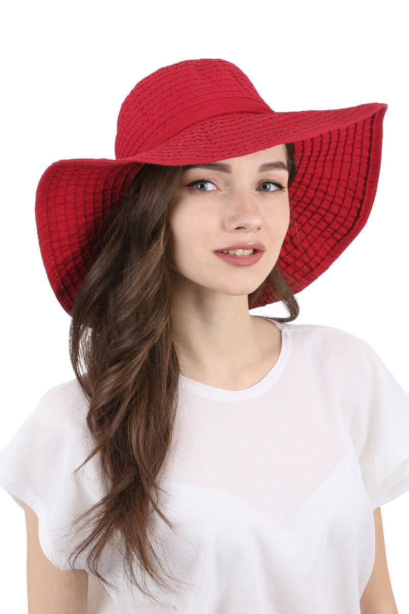 Шляпа летняя с большими полями красная
