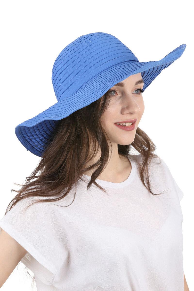Шляпа летняя с большими полями синяя