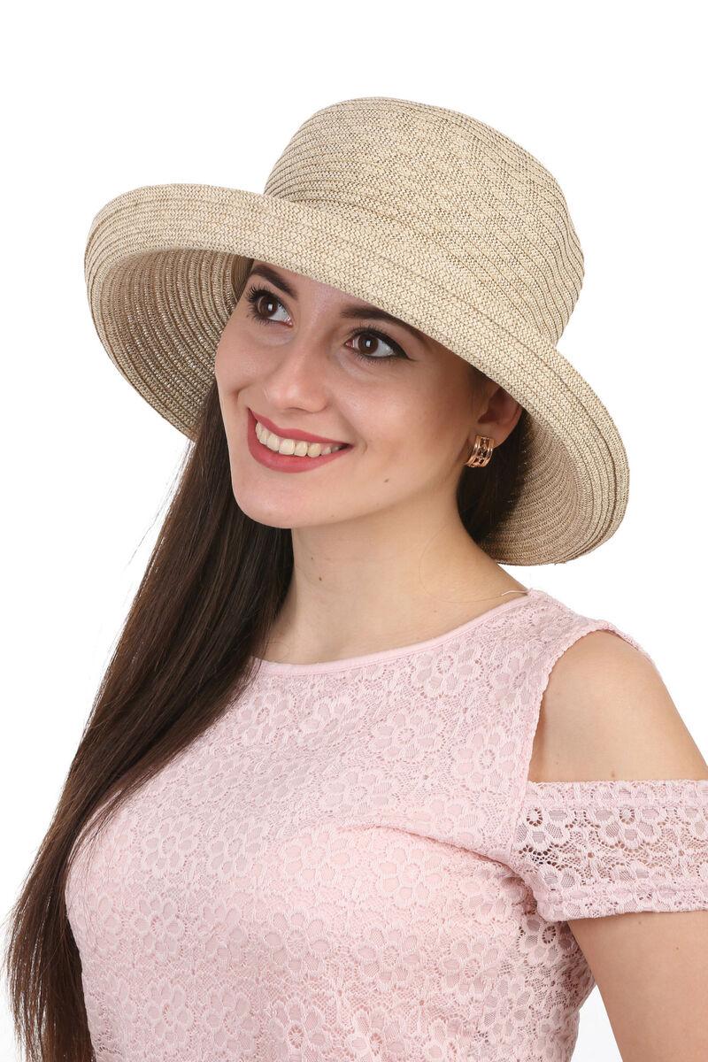Шляпа летняя женская  темно-бежевая