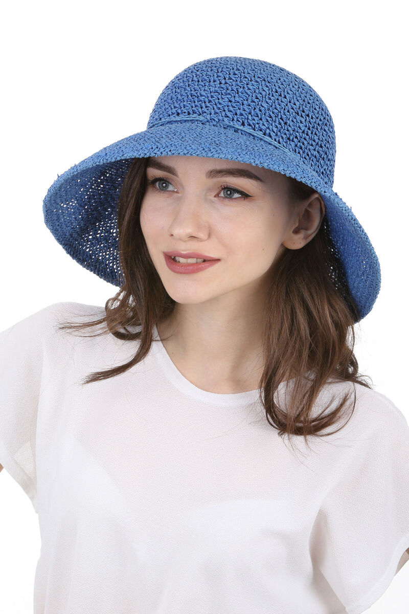 Шляпа плетеная синяя
