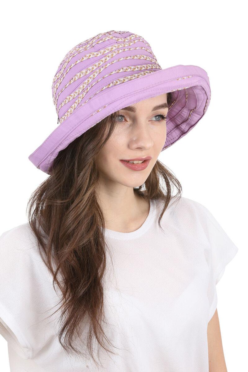 Шляпа тканевая с большими полями сиреневая