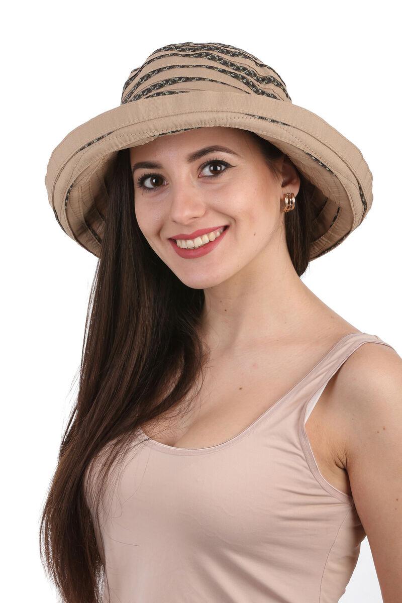 Шляпа тканевая с большими полями коричневая