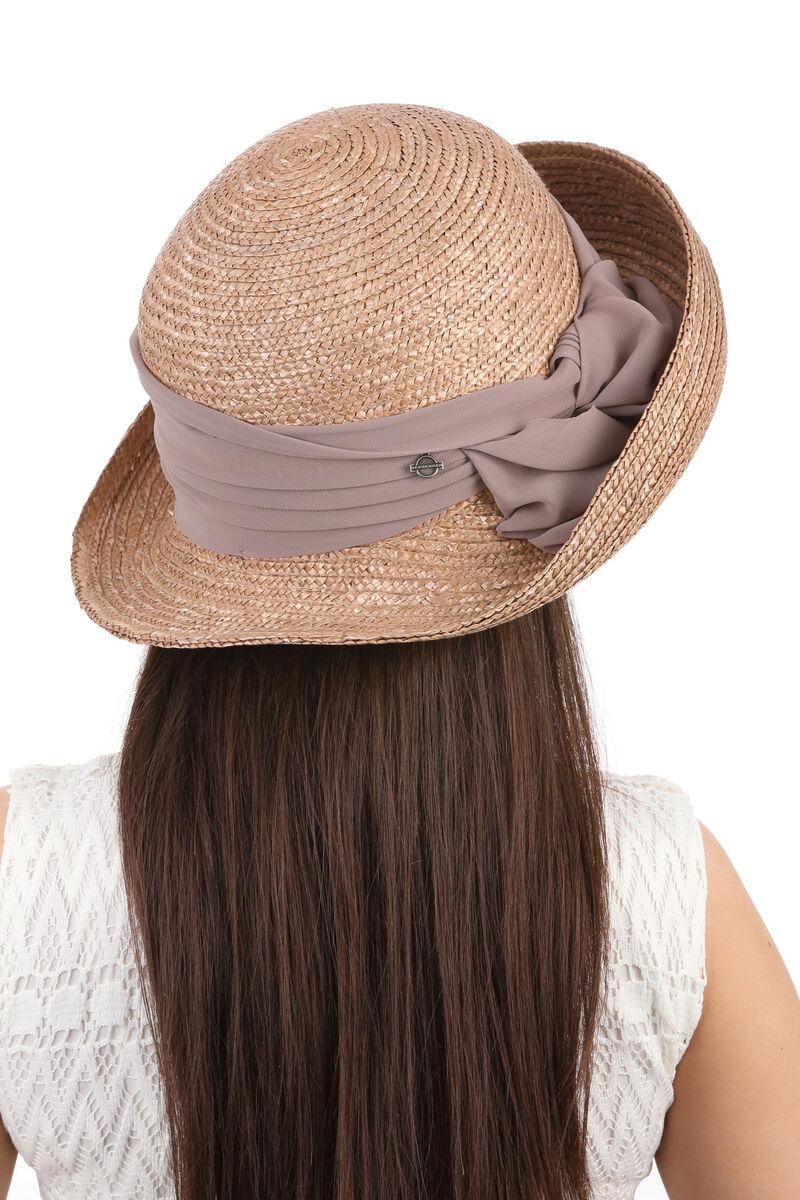 Шляпа с поднятыми полями коричневая