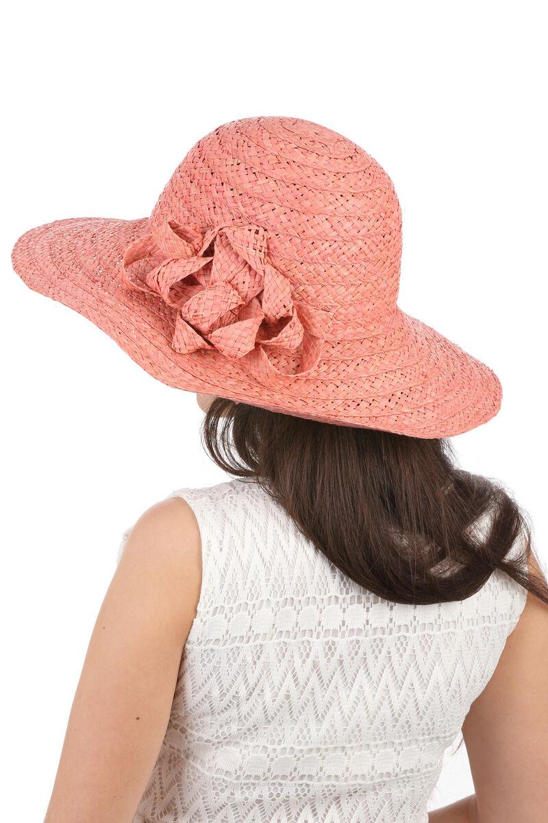 Соломенная шляпа розовая