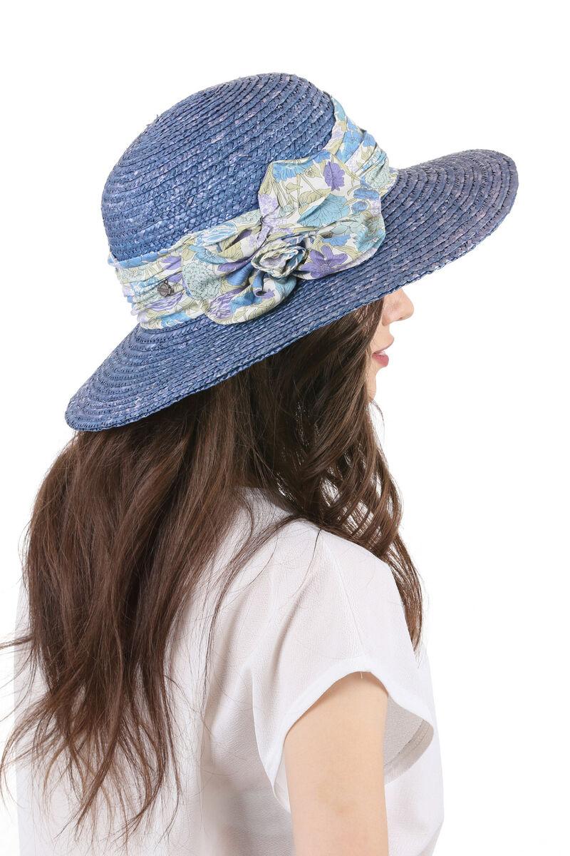 Шляпа соломенная с прямыми полями синяя