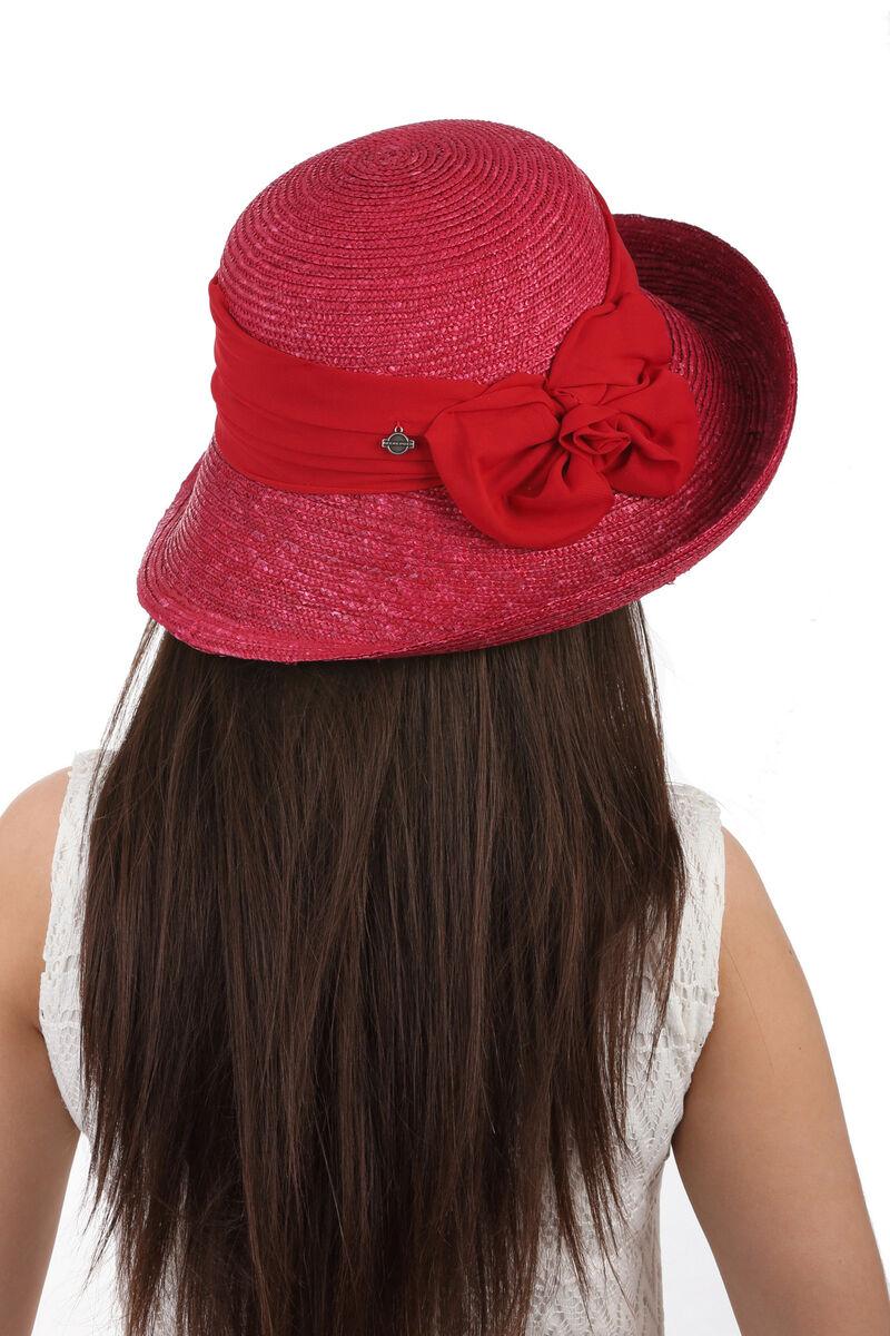 Шляпа женская соломенная декорированная лентой  красная