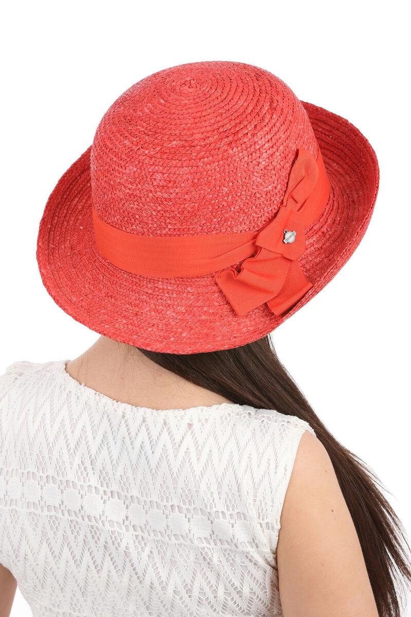 Шляпа из соломы женская асимметричная красная