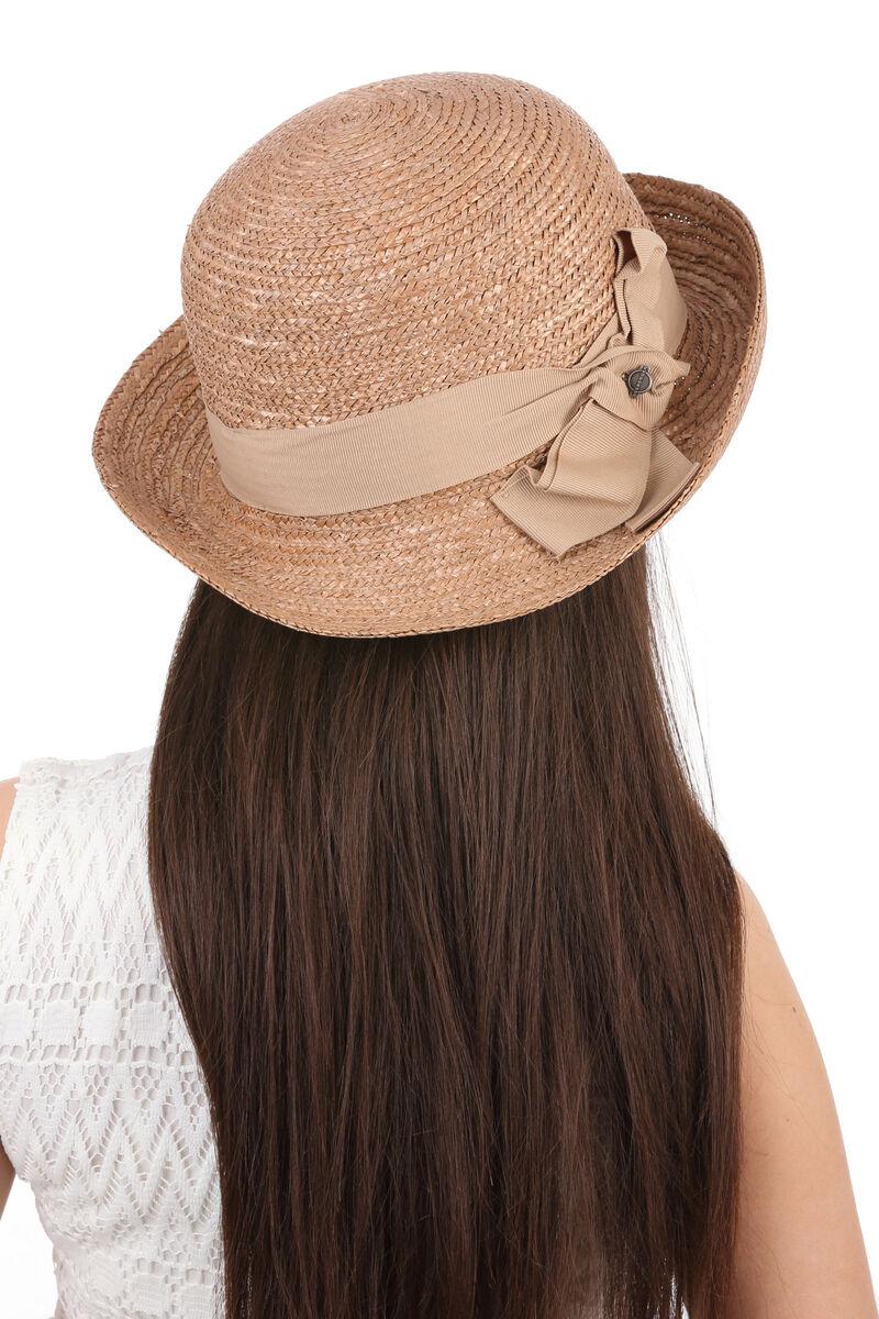 Шляпа из соломы женская асимметричная коричневая