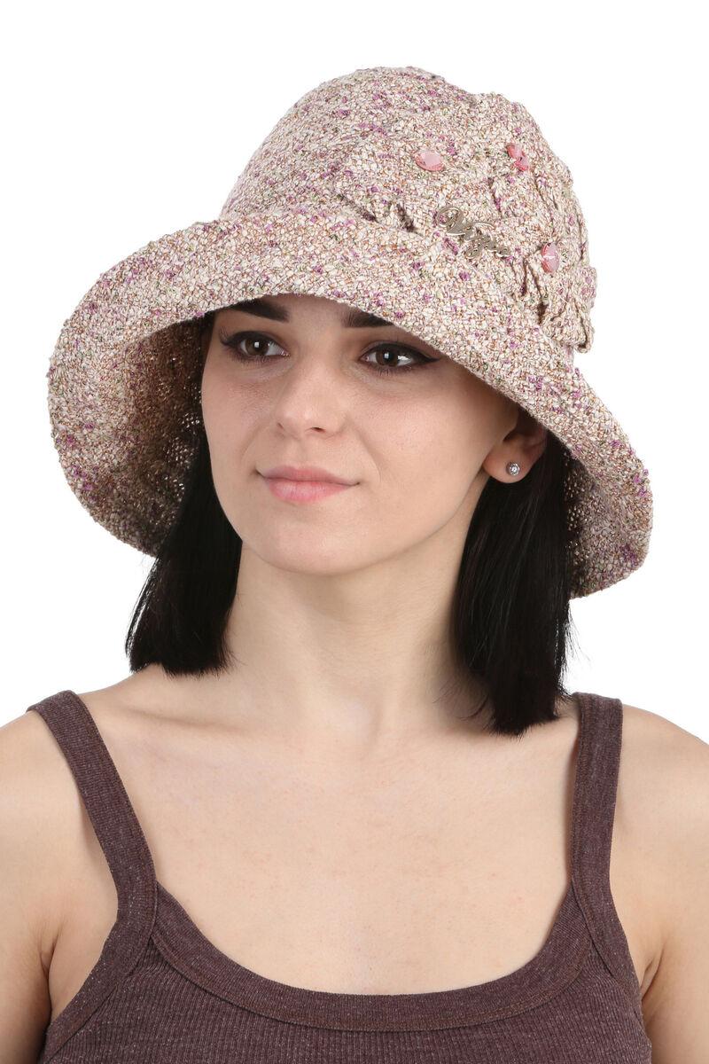 Шляпа женская с камнями коричневая