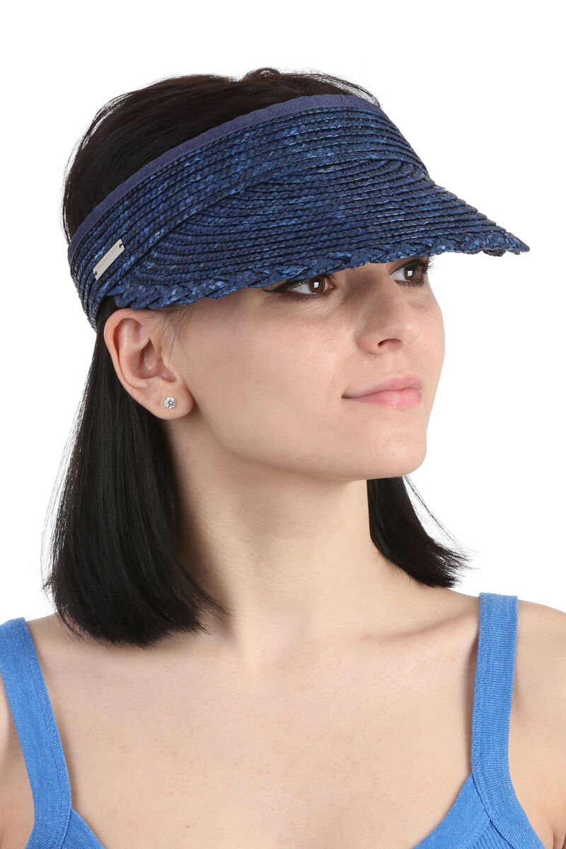 Козырек соломенный синий