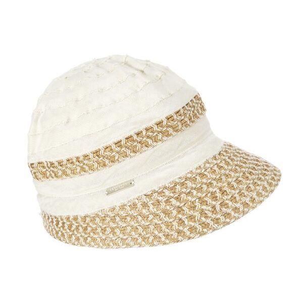 Шляпа летняя бежевая с белым