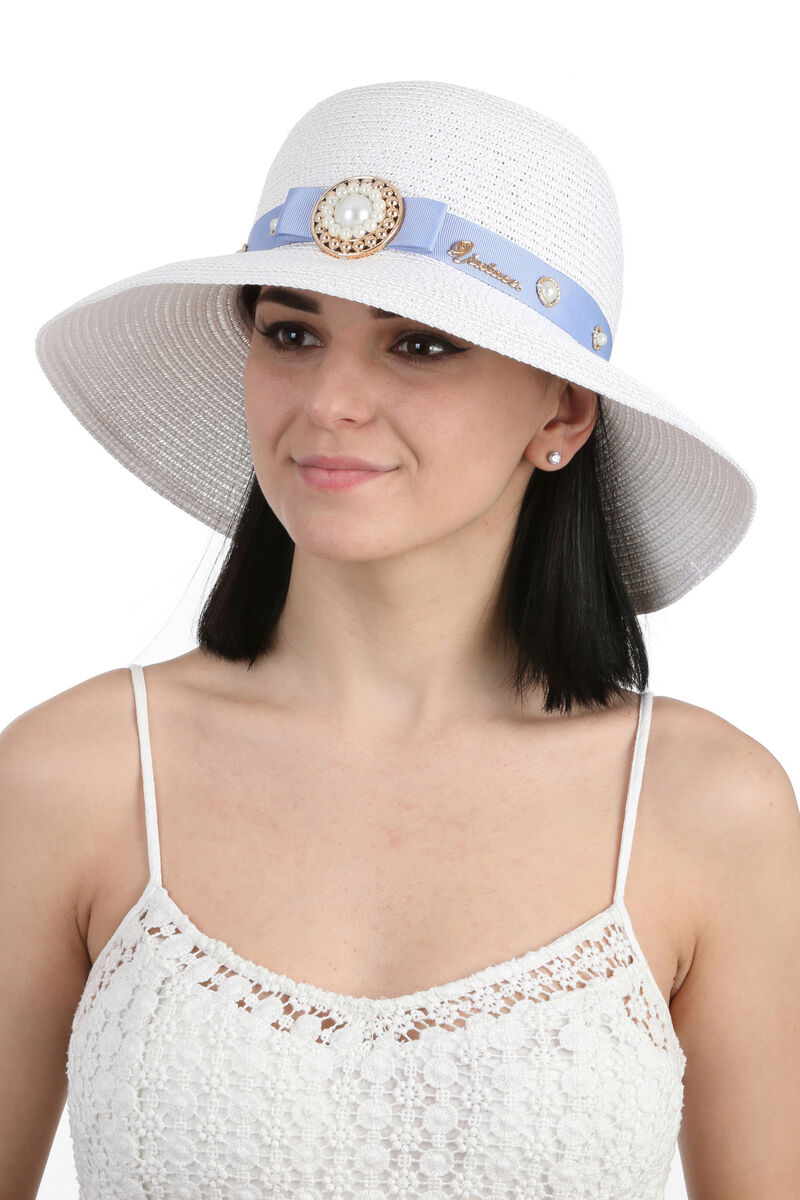 Шляпа летняя с брошью