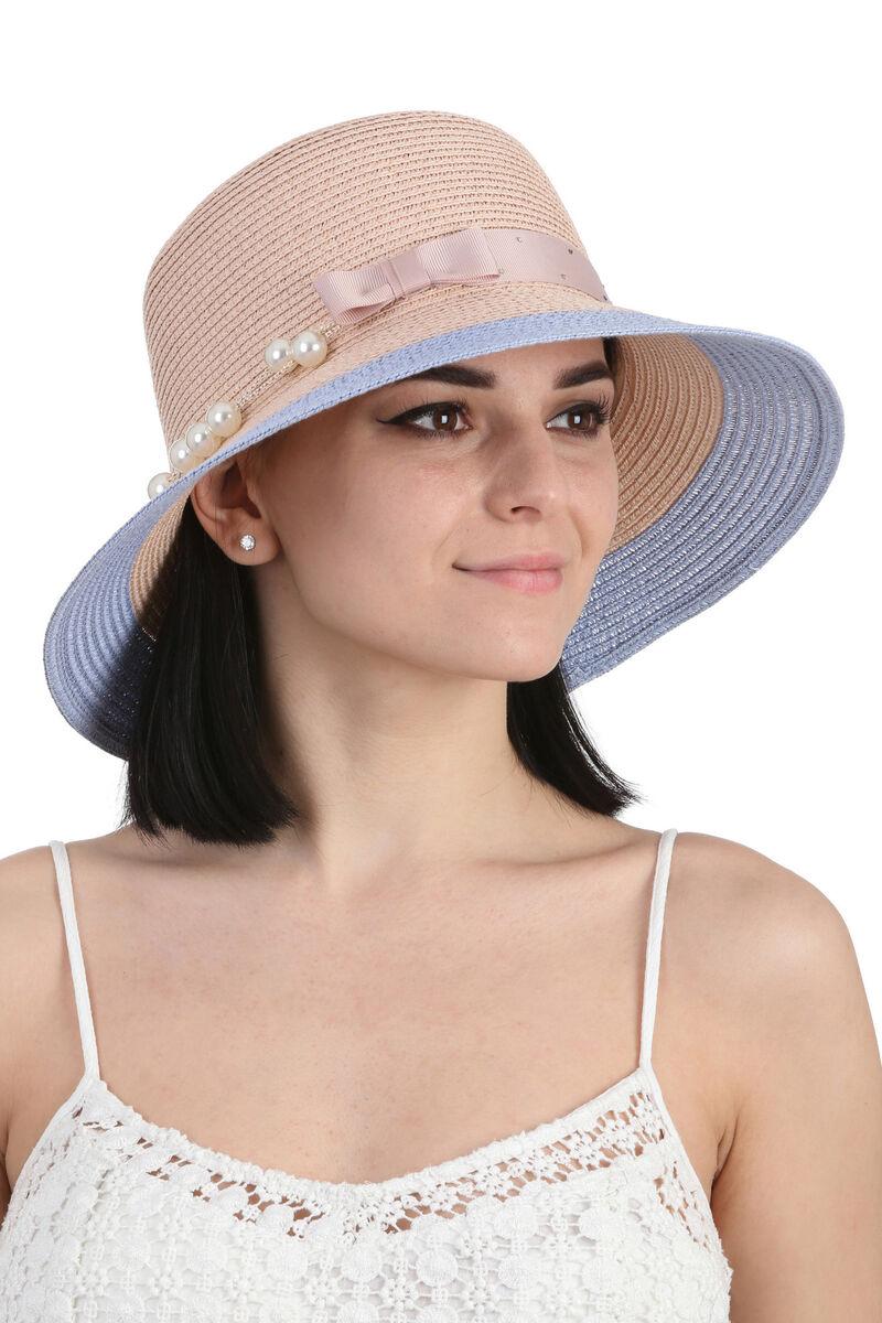 Шляпа летняя персиковая с голубым