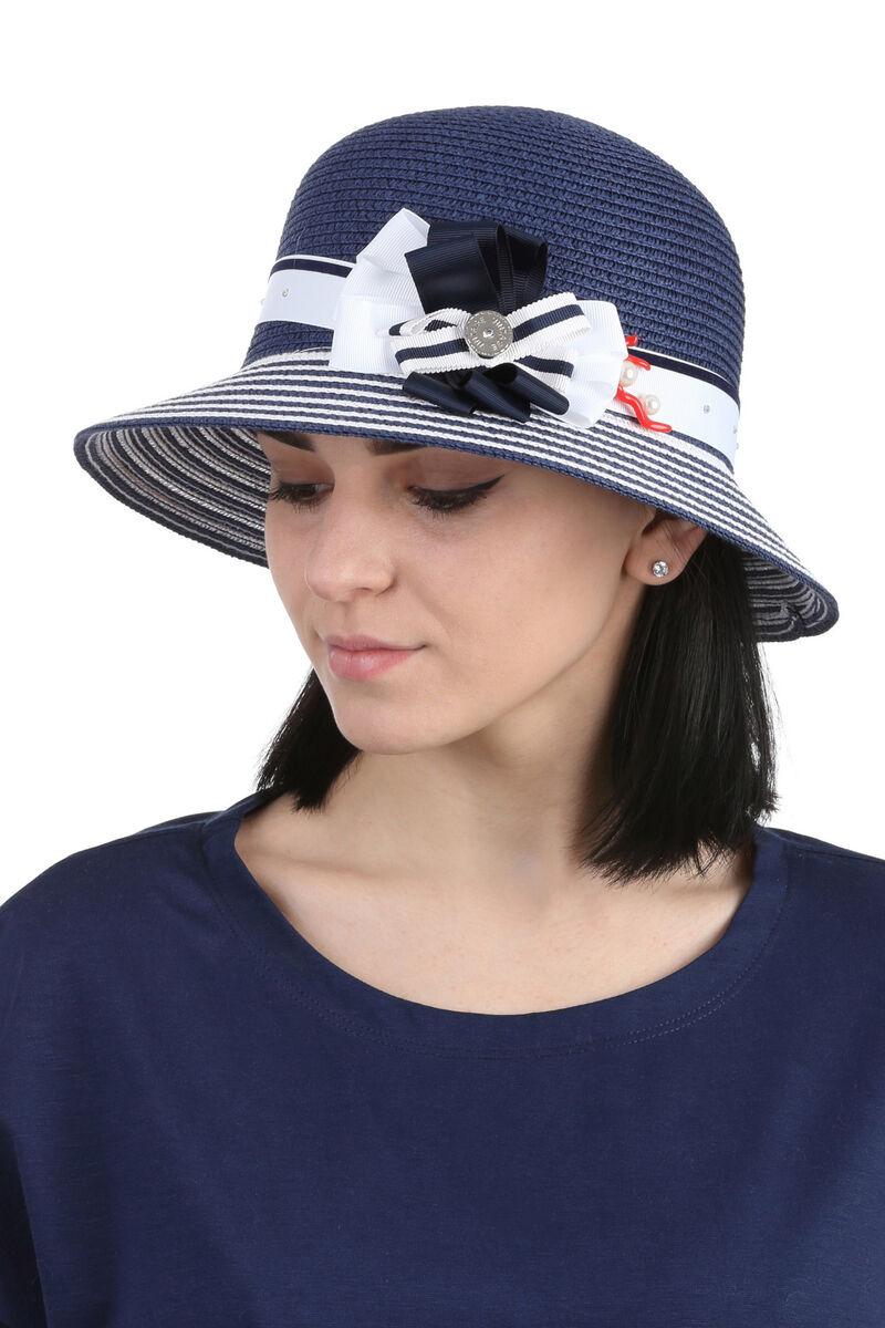 Шляпа с маленькими полями сине-белая