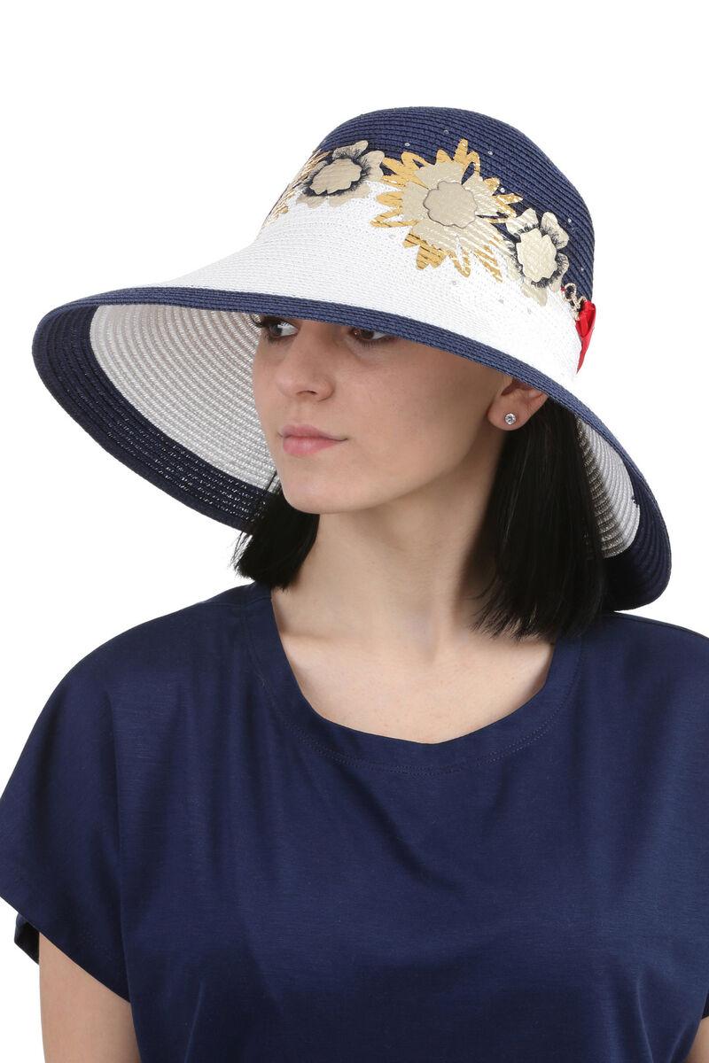 Шляпа с большим полями белая с синим