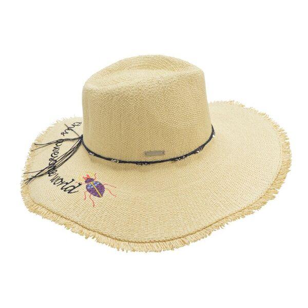 Шляпа женская бежевая с надписью